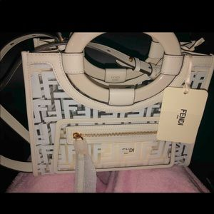 FENDI Small Glass Runaway Shopper Tote White